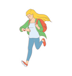 late young woman girl hurrying up vector image