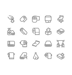 line towels and napkins icons vector image