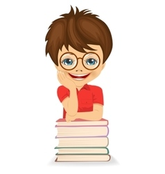 Little boy leaning on book stack vector