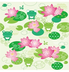 Lotus flower and frog texture vector