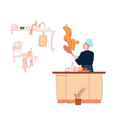 man in chef toque and apron cooking on pan with vector image