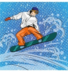 Man snowboarding in mountains vector