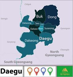 Map daegu south korea vector