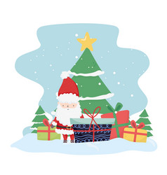 merry christmas celebration cute santa with tree vector image