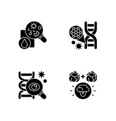 microbiology black glyph icons set on white space vector image