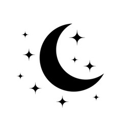 moon and star black icon of for night vector image