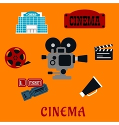Movie production and cinema flat icons vector