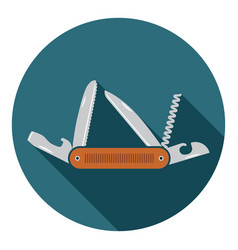 multifunctional pocket knife icon flat design vector image
