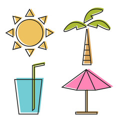 of four summer line icons vector image