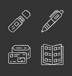 office work attributes chalk icons set business vector image