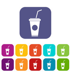Paper cup with straw icons set vector