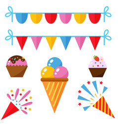 Party icons celebration happy birthday surprise vector