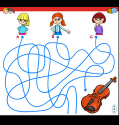 Paths maze game with girls and violin vector