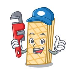 Plumber waffle mascot cartoon style vector