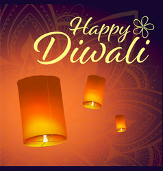post card for diwali festival with realistic sky vector image