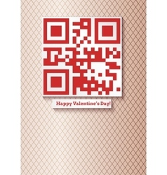 postcard with qr-code for happy valentines day vector image