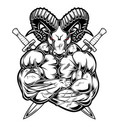 Rams hardcore muscle sword red vector