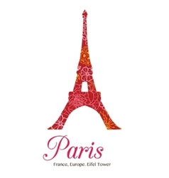 Red floral eifel tower paris on st vector