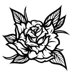 Rose flower with leaves tattoo concept vector
