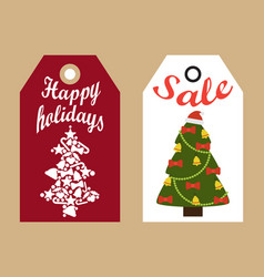 Sale happy holidays decorative tags new year trees vector