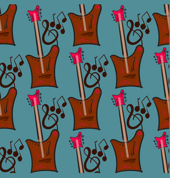Seamless pattern with guitar vector