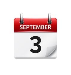 September 3 flat daily calendar icon vector