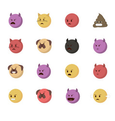 Set angry emoticon vector
