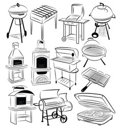set barbecue grills collection braziers vector image
