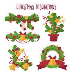 set of christmas decoration design elements vector image