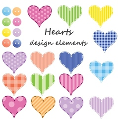 set of different hearts design elements vector image