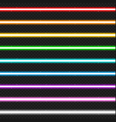 Set of nine colorful laser beams vector