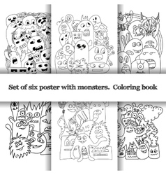 Set of six pattern with doodle monsters vector image