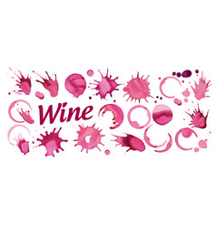set splashes red wine on white vector image