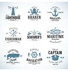 Set vintage nautical labels and signs vector