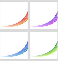 Simple color curved stripe background set vector