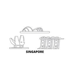 Singapore line travel skyline set singapore vector