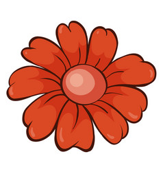Single flower in red color vector