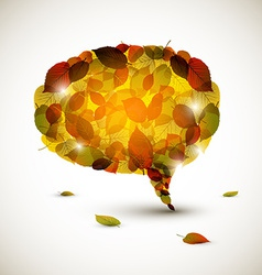 Speech bubble made of colorful autumn leafs vector image