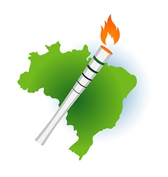 Sport flame torch over Brazil Rio vector image