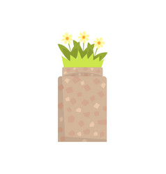 Stone flowerbed with flowers and green grass vector