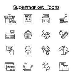 supermarket icon set in thin line style vector image