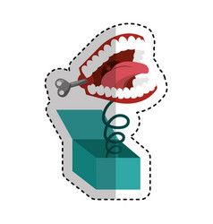 surprise box with funny joke teeth icon vector image