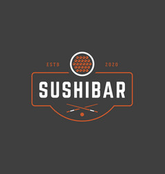 Sushi shop logo template object and icons vector