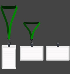 Three white lanyard with green holder vector image