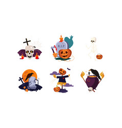 traditional design elements of halloween set vector image