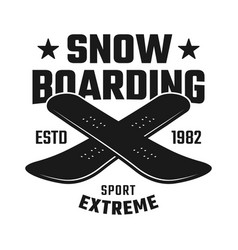 two crossed boards emblem for snowboarding club vector image