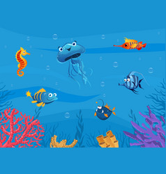undersea world cute marine animals background vector image