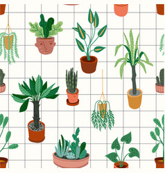 Urban jungle seamless pattern with trendy vector