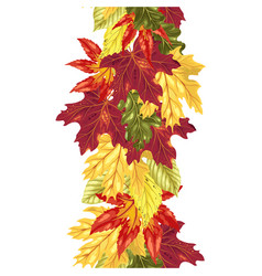 vertical seamless line with autumn leaves vector image
