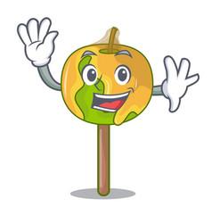 Waving candy apple character cartoon vector